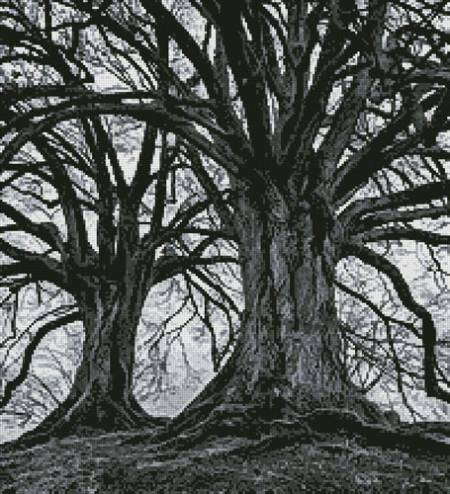 cross stitch pattern Branching Out - Black and White (Crop)