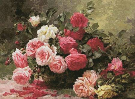 cross stitch pattern Basket of Roses Painting