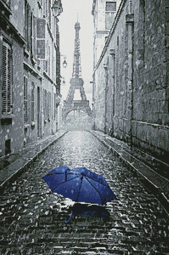cross stitch pattern Blue Umbrella in Paris