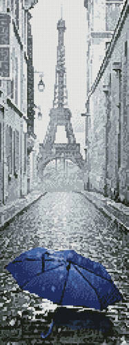 cross stitch pattern Blue Umbrella in Paris (Crop)