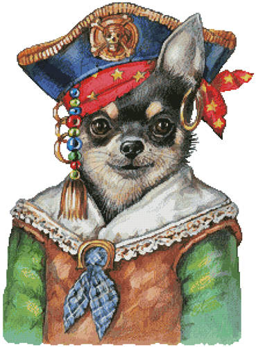 cross stitch pattern Chihuahua Pirate