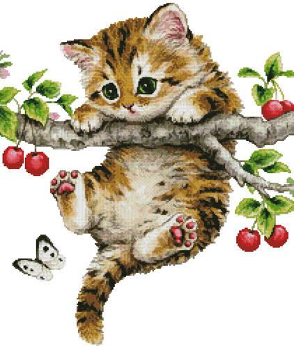 cross stitch pattern Cherry Kitten (No Background)