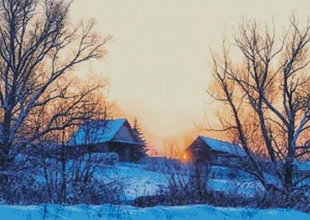 cross stitch pattern Colourful Winter Sunrise