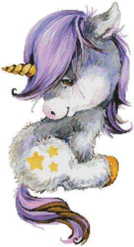 cross stitch pattern Cute Purple Unicorn
