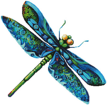 cross stitch pattern Dragonfly Painting (No Background)