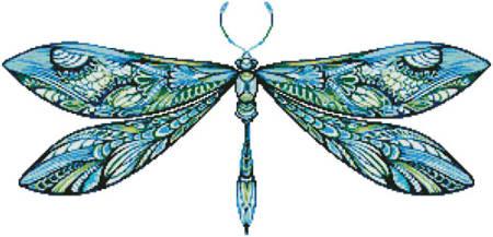 cross stitch pattern Dragonfly (Blue)