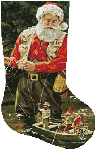 cross stitch pattern Fishing Buddies Stocking (Right)