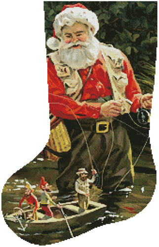 cross stitch pattern Fishing Buddies Stocking (Left)