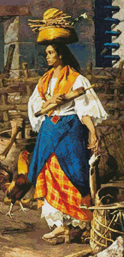 cross stitch pattern Filipino Woman