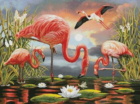 cross stitch pattern Flamingos Painting