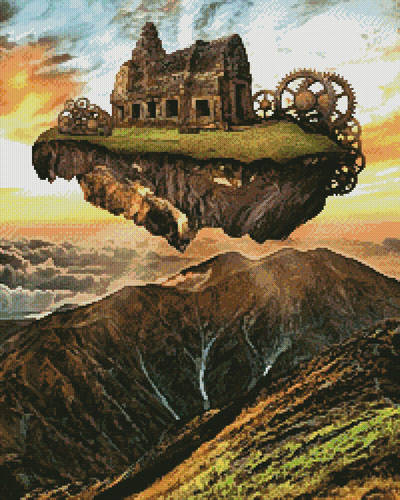 cross stitch pattern Floating Steampunk Mountain (Large Crop)