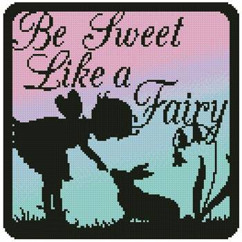 cross stitch pattern Fairy Silhouette Square 6