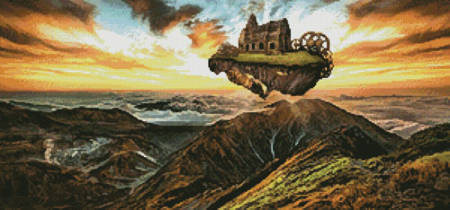 cross stitch pattern Floating Steampunk Mountain