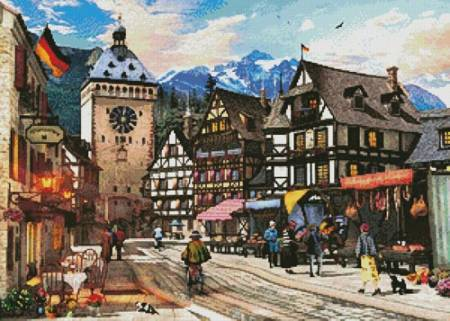 cross stitch pattern German Market Town