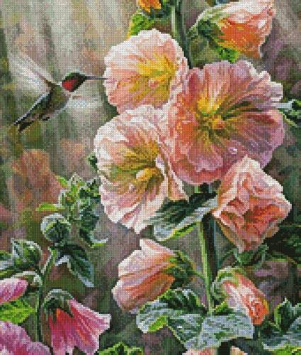 cross stitch pattern Hummingbird  Hollyhocks (Crop)