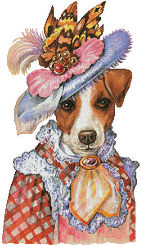 cross stitch pattern Jack Russell Mademoiselle