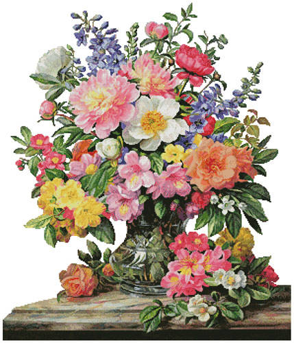 cross stitch pattern June Flowers in Radiance (No Background)