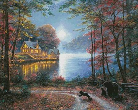 cross stitch pattern Lakeside Dreams