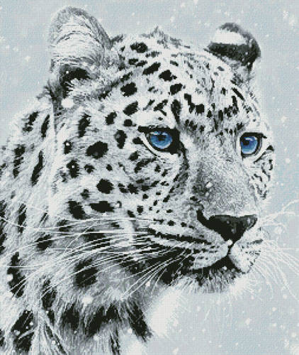 cross stitch pattern Leopard in Snow
