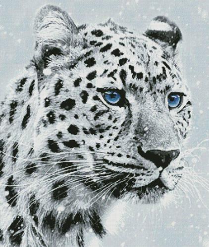 cross stitch pattern Leopard in Snow
