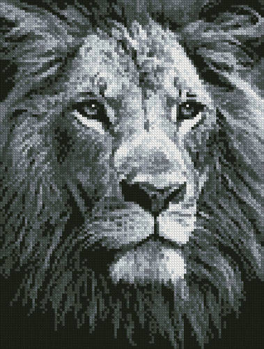 cross stitch pattern Mini Lion Close up (Black and White)