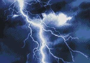 cross stitch pattern Mini Lightning Blue
