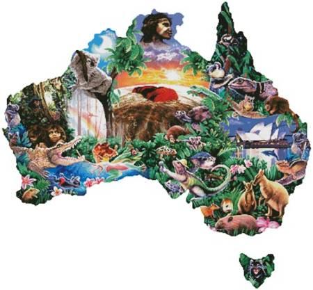 cross stitch pattern Map of Australia