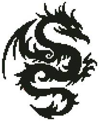 cross stitch pattern Mini Tribal Dragon 2