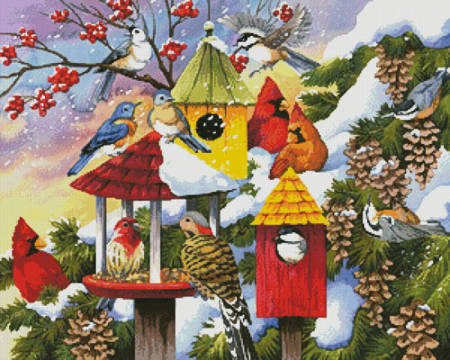 cross stitch pattern Meeting at the Bird Feeder