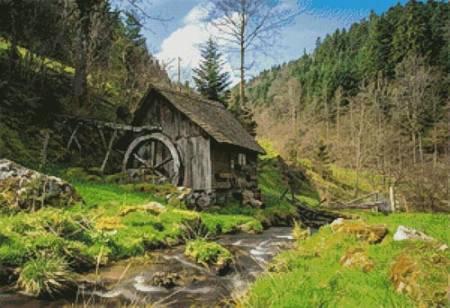 cross stitch pattern Old Mill, Black Forest, Germany