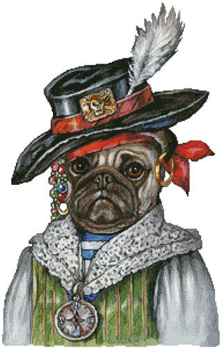 cross stitch pattern Pug Pirate