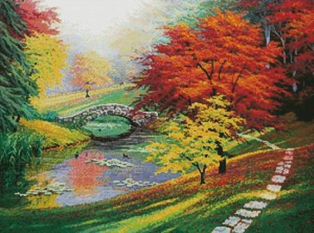 cross stitch pattern Red Trees in Autumn