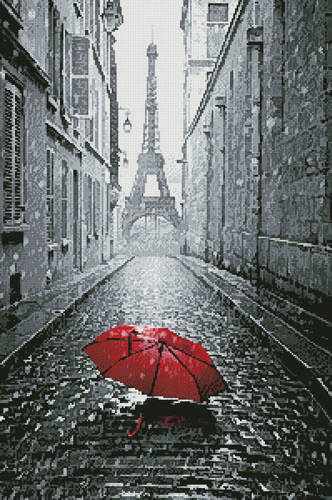 cross stitch pattern Red Umbrella in Paris
