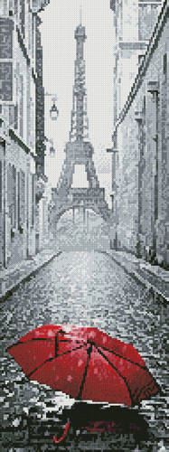 cross stitch pattern Red Umbrella in Paris (Crop)