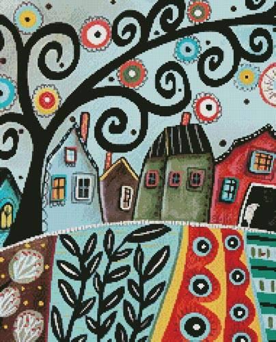 cross stitch pattern Rural Town 1 (Crop)