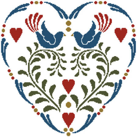 cross stitch pattern Rosemaling Heart 1