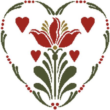 cross stitch pattern Rosemaling Heart 2