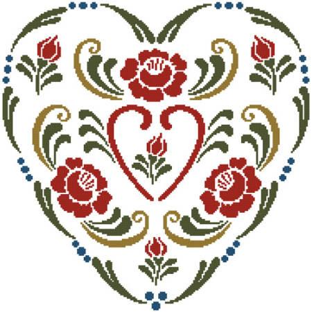 cross stitch pattern Rosemaling Heart 3