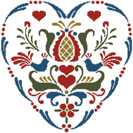 cross stitch pattern Rosemaling Heart 4