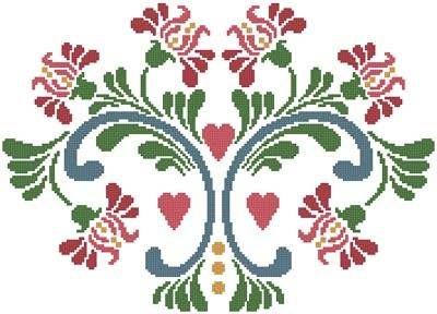 cross stitch pattern Rosemaling 6