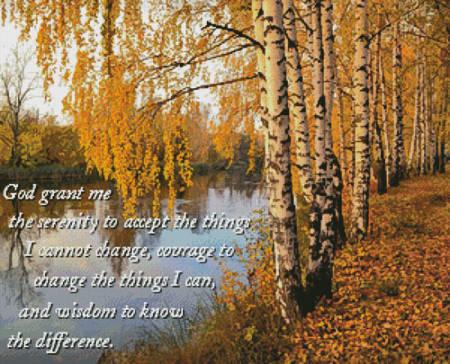 cross stitch pattern Serenity Birch Tree