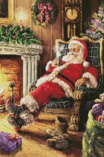 cross stitch pattern Santa Resting