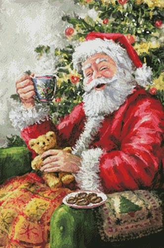 cross stitch pattern Santa with Cuppa