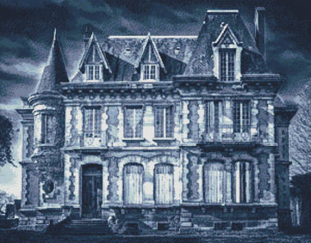 cross stitch pattern Spooky House (Blue 2)