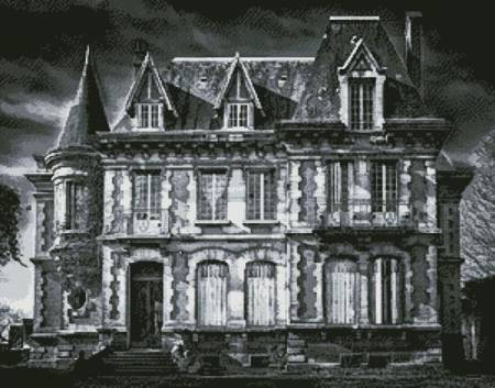cross stitch pattern Spooky House (Black and White)