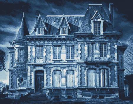 cross stitch pattern Spooky House (Blue)