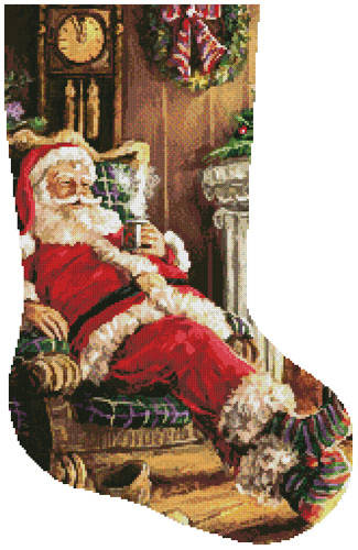 cross stitch pattern Santa Resting Stocking (Right)