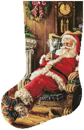 cross stitch pattern Santa Resting Stocking (Left)