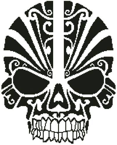 cross stitch pattern Tribal Skull Silhouette
