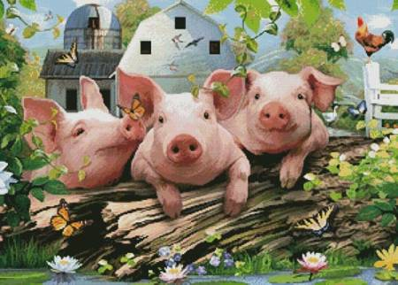 cross stitch pattern Three Little Pigs